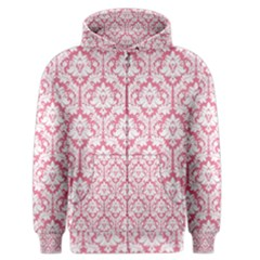 White On Soft Pink Damask Men s Zipper Hoodie by Zandiepants