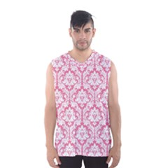 White On Soft Pink Damask Men s Basketball Tank Top by Zandiepants