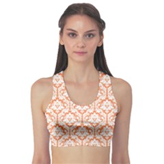 Nectarine Orange Damask Pattern Sports Bra by Zandiepants