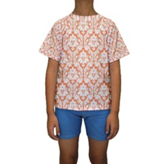 White On Orange Damask Kid s Short Sleeve Swimwear