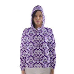 Royal Purple Damask Pattern Hooded Wind Breaker (women) by Zandiepants