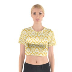 Sunny Yellow Damask Pattern Cotton Crop Top