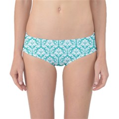 Turquoise Damask Pattern Classic Bikini Bottoms by Zandiepants