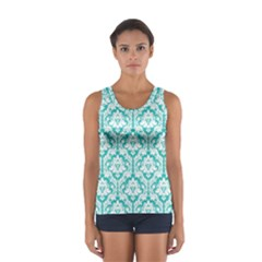 Turquoise Damask Pattern Women s Sport Tank Top  by Zandiepants