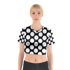 Black And White Polkadot Cotton Crop Top