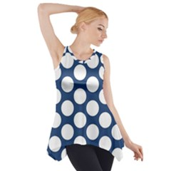 Dark Blue Polkadot Side Drop Tank Tunic