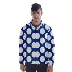 Dark Blue Polkadot Wind Breaker (men) by Zandiepants