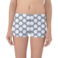 Grey Polkadot Reversible Boyleg Bikini Bottoms by Zandiepants
