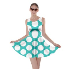 Turquoise Polkadot Pattern Skater Dress by Zandiepants