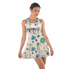 Whimsical Flowers Blue Racerback Dresses by Zandiepants