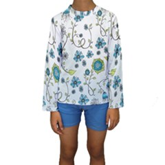 Blue Whimsical Flowers  On Blue Kid s Long Sleeve Swimwear by Zandiepants