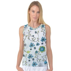 Blue Whimsical Flowers  On Blue Women s Basketball Tank Top