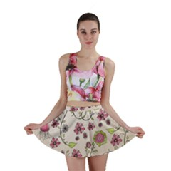 Pink Whimsical Flowers On Beige Mini Skirts by Zandiepants