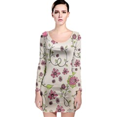 Pink Whimsical Flowers On Beige Long Sleeve Bodycon Dress by Zandiepants