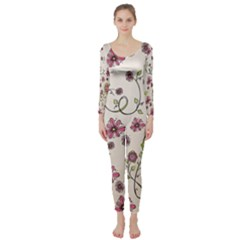 Pink Whimsical Flowers On Beige Long Sleeve Catsuit
