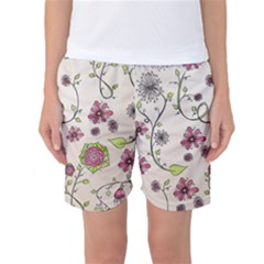Pink Whimsical Flowers On Beige Women s Basketball Shorts by Zandiepants