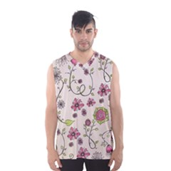 Pink Whimsical Flowers On Beige Men s Basketball Tank Top
