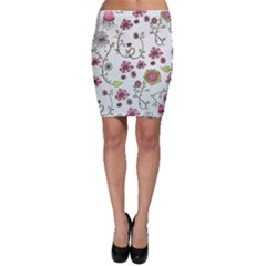Pink Whimsical Flowers On Blue Bodycon Skirts by Zandiepants