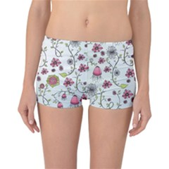 Pink Whimsical Flowers On Blue Reversible Boyleg Bikini Bottoms