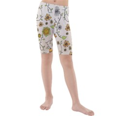 Yellow Whimsical Flowers  Kid s Mid Length Swim Shorts by Zandiepants