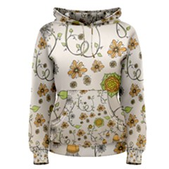 Yellow Whimsical Flowers  Women s Pullover Hoodie by Zandiepants