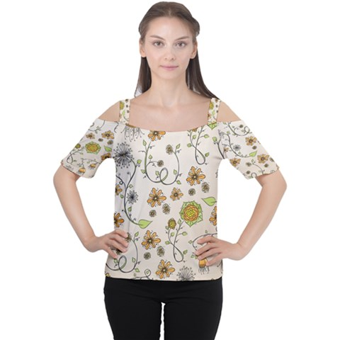 Yellow Whimsical Flowers  Women s Cutout Shoulder Tee by Zandiepants