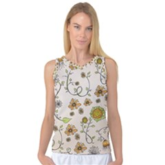 Yellow Whimsical Flowers  Women s Basketball Tank Top by Zandiepants
