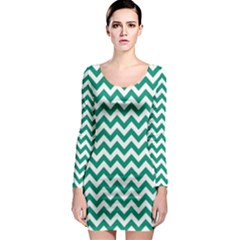 Emerald Green And White Zigzag Long Sleeve Bodycon Dress