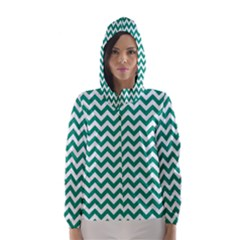 Emerald Green And White Zigzag Hooded Wind Breaker (women) by Zandiepants