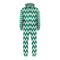 Emerald Green And White Zigzag Hooded Jumpsuit (kids) by Zandiepants