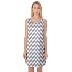 Grey And White Zigzag Sleeveless Satin Nightdress by Zandiepants