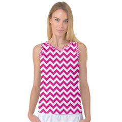 Hot Pink And White Zigzag Women s Basketball Tank Top by Zandiepants
