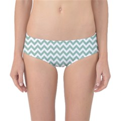 Jade Green And White Zigzag Classic Bikini Bottoms by Zandiepants