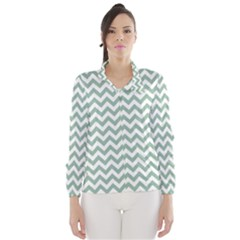 Jade Green And White Zigzag Wind Breaker (women)