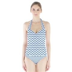 Blue And White Zigzag Women s Halter One Piece Swimsuit