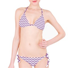 Lilac And White Zigzag Bikini Set