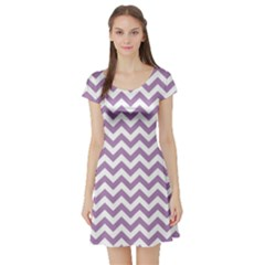 Lilac And White Zigzag Short Sleeve Skater Dress