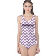 Lilac And White Zigzag One Piece Swimsuit by Zandiepants