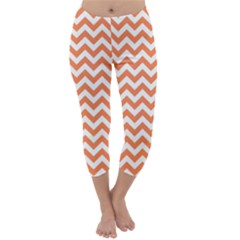 Orange And White Zigzag Capri Winter Leggings  by Zandiepants