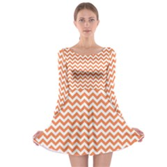 Orange And White Zigzag Long Sleeve Skater Dress by Zandiepants