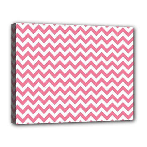 Pink And White Zigzag Canvas 14  X 11  by Zandiepants