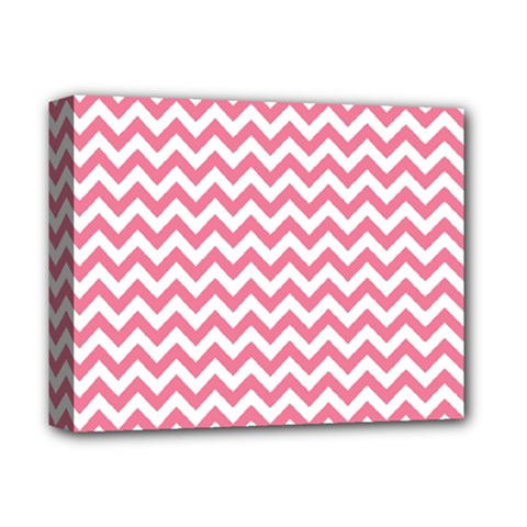 Pink And White Zigzag Deluxe Canvas 14  X 11  by Zandiepants