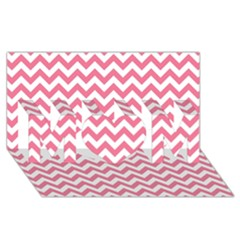 Pink And White Zigzag Mom 3d Greeting Card (8x4)  by Zandiepants