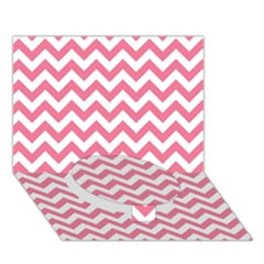 Pink And White Zigzag Circle Bottom 3d Greeting Card (7x5)  by Zandiepants