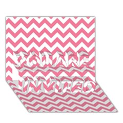 Pink And White Zigzag You Are Invited 3d Greeting Card (7x5)  by Zandiepants
