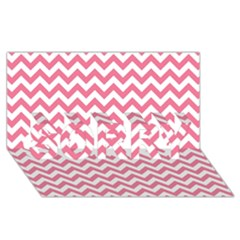 Pink And White Zigzag Sorry 3d Greeting Card (8x4)  by Zandiepants