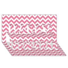 Pink And White Zigzag Happy New Year 3d Greeting Card (8x4)  by Zandiepants