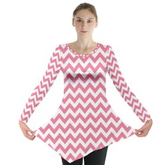 Pink And White Zigzag Long Sleeve Tunic