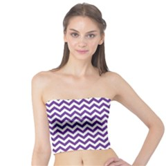 Purple And White Zigzag Pattern Tube Top by Zandiepants