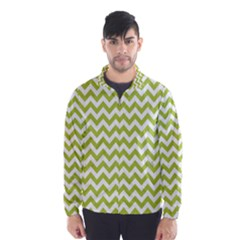 Spring Green And White Zigzag Pattern Wind Breaker (men) by Zandiepants